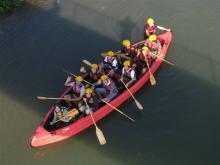 日野川Eボート上から